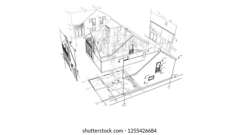 Architectural Drawings 3 D Illustration Stock Illustration