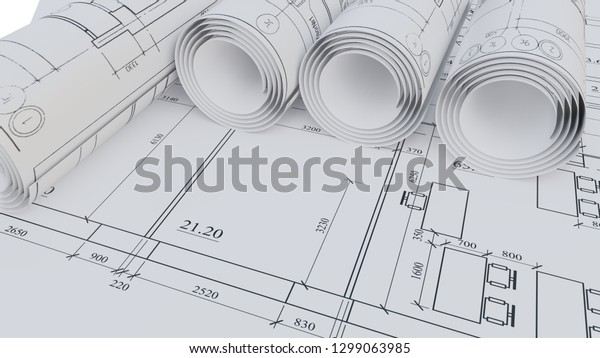 Architectural Drawings Flat Rolled 3d Rendering Stock
