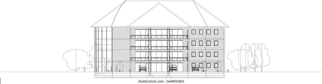 architectural elevations bim 3d illustration