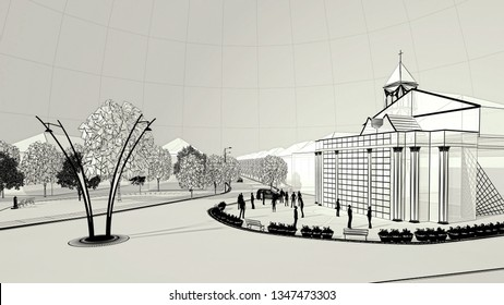Architectural engineering design of urban street in city center using BIM, 3d illustration, 3d rendering