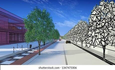 Architectural engineering design of urban street in city center using BIM, 3d illustration, 3d rendering