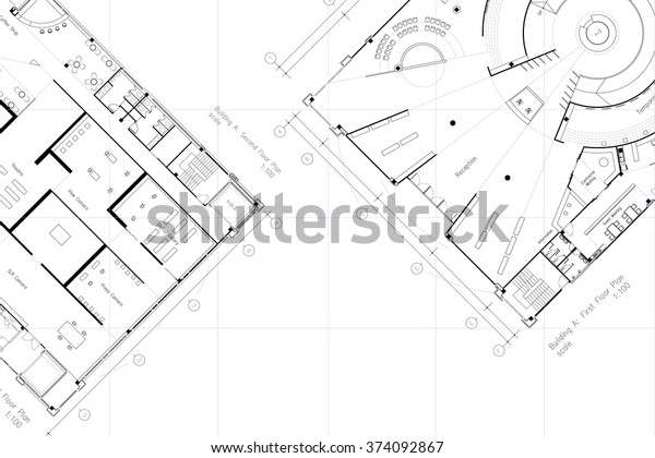 Architectural Layout Floor Plan Grid Lines Stock Illustration 374092867