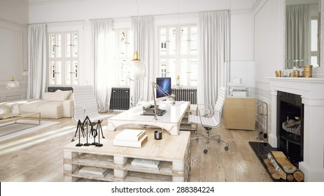 Architectural loft office 3D