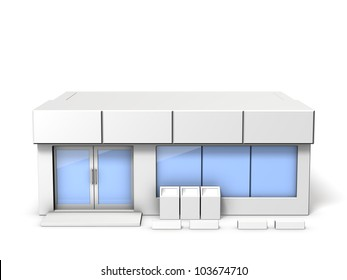 Architectural models of convenience store, This is a computer generated image,on white background.