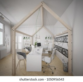 Architectural office in an industrial styled interior - 3 D rendering (using 3 d s Max)
