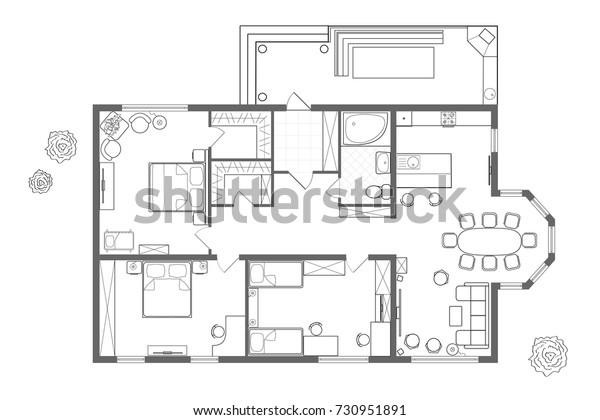 Ilustracion De Stock Sobre Plano Arquitectonico De La Casa Diseno