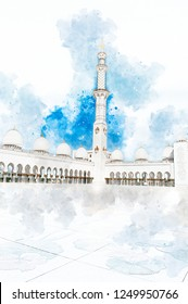 Architectural sketch about Central court of Sheikh Zayed Grand Mosque, Abu Dhabi. Sheikh Zayed Grand Mosque is the largest Mosque in the UAE and the eight largest in the world.
