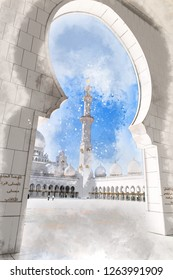 Architectural sketch about central court of Sheikh Zayed Grand Mosque, Abu Dhabi (UAE)