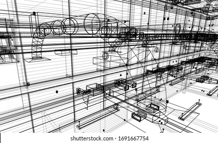 architectural wireframe interior sectional design 3d illustration