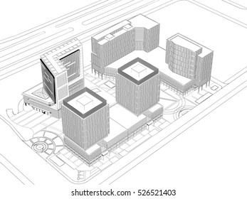 architectural wireframe plan, 3D rendering