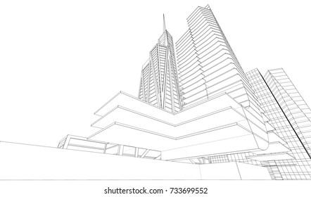 Big City Skyscraper Sketch Buildings Blue Stock Vector Royalty Free
