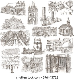 ARCHITECTURE around the World - pack, collection - Collection of an hand drawn illustrations. Description, Full sized hand drawn illustrations (freehand sketches). Drawings on old paper.