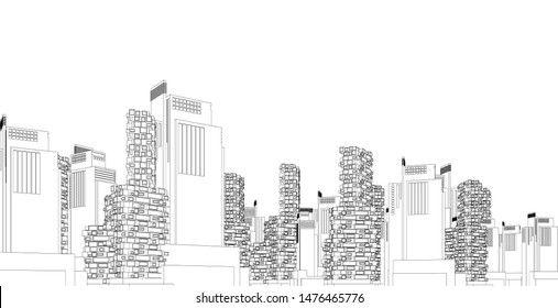 architecture background 3d illustration, sketch line geometric, architectural background