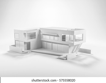 Architecture background concept with grey building 3D model, rendered isolated on white. 3d rendering.