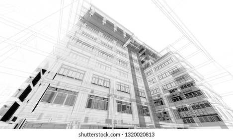 Architecture background. Perspective 3d Wireframe of building design and model my own - 3D rendering