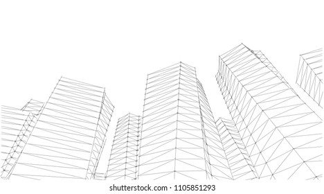 Architecture Abstract 3 D Illustration Stock Illustration 698887495