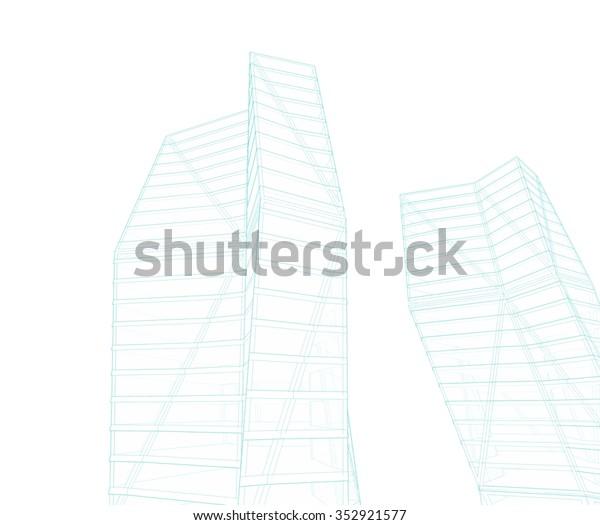 Architecture Building Modern Skyscraper Stock Illustration 352921577