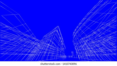 architecture building sketch 3d illustration