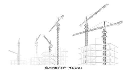 architecture buildings with building crane 3d illustration