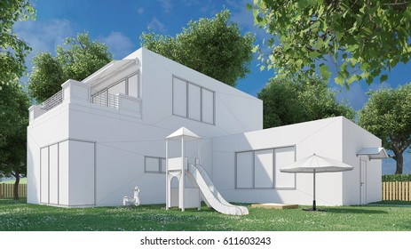 Architecture construction planning of house with 3D CAD Model (3D Rendering)