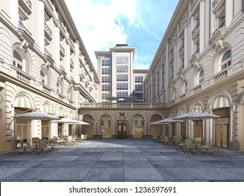 The architecture of the courtyard is classic style, the facade of the building is in the classical style. 3d rendering