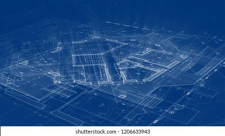 Architecture design: blueprint plan - illustration of a plan modern residential building