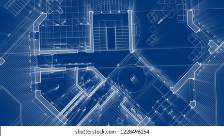 Architecture design: blueprint plan - illustration of a plan modern residential building