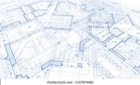 Architecture design: blueprint plan -  modern residential building
