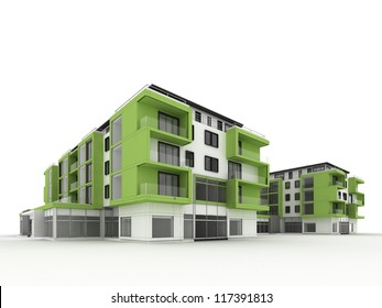 architecture design and visualization of ecological, environmentally friendly, green apartment building