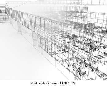 Architecture drawing style visualization of plant with offices and fabrication places