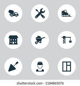 Architecture icons set with tower crane, wheelbarrow, tools and other glass frame elements. Isolated  illustration architecture icons.