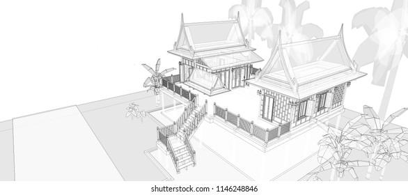architecture model , 3D illustration , 3D rendering