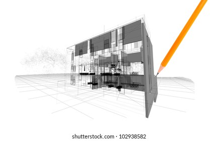 Architecture model house illustration