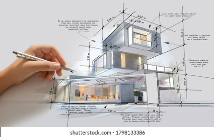 Architecture project showing different design phases, from handmade rough sketch, construction specifications to realistic 3D rendering. The writing is dummy text with no translation