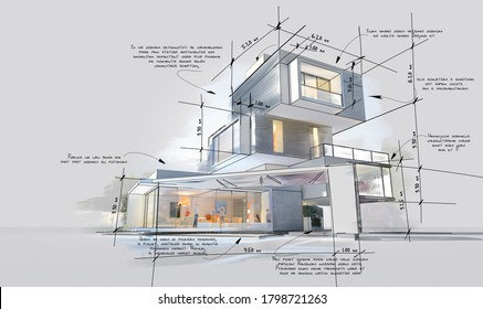 Architecture project showing different design phases, from rough sketch, construction specifications to realistic 3D rendering. The writing is dummy text with no translation.