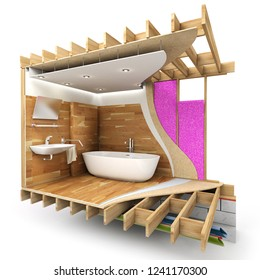 Architecture rendering of a bathroom interior showing all technical details in sections 3D rendering