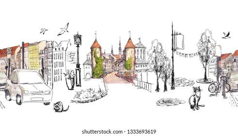 Architecture seamless border stripe. Urban sketch of city, town - houses, red roofs, lanterns, cars, cats in vintage hand drawing style