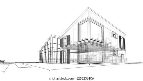 Architecture buildings drawings Pencil Architecture Sketch 3d Illustration Shutterstock Building Drawing Images Stock Photos Vectors Shutterstock
