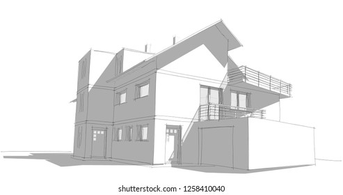 architecture sketch 3d illustration