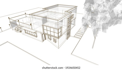 architecture sketch house 3d rendering