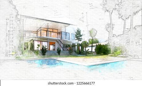 Architecture Sketch of house / building. 3d rendering