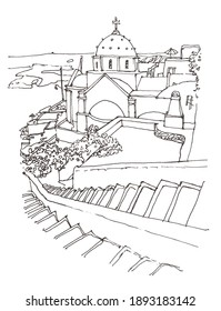 Architecture sketch illustration. Hand drawn sketch of Santorini island, Greece. Isolated on white background. Travel sketch. Hand drawn travel postcard.