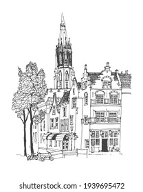 Architecture sketch illustration. Travel sketch of Delft, the province of South Holland, Netherlands. Urban sketch in black color isolated on white background. Freehand drawing. Line art drawing.