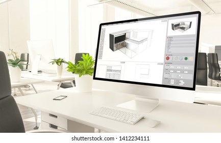 architecture software screen mockup computer in loft office 3d rendering