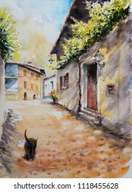 Architecture of village Limone sul Garda on Garda Lake, Italy .Picture created with watercolors.
