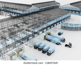 Architecture visualization of plant with offices and cargo service
