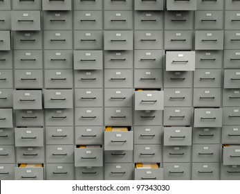 Archive cabinets with folders