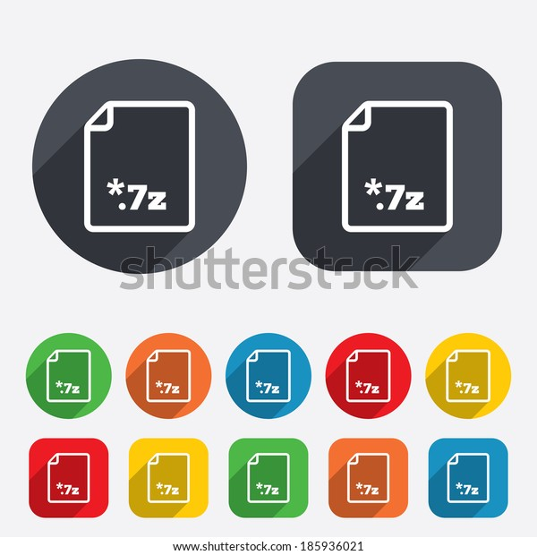 Archive file icon. Download compressed file button. 7z zipped file extension symbol. Circles and rounded squares 12 buttons.