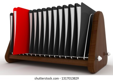 Archive. Many folders on white isolated background. 3D rendering illustration