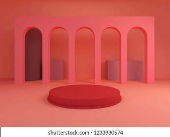 Archs with a round podium in pastel colors, minimal background, red platform, 3D render. Scene with geometrical forms.